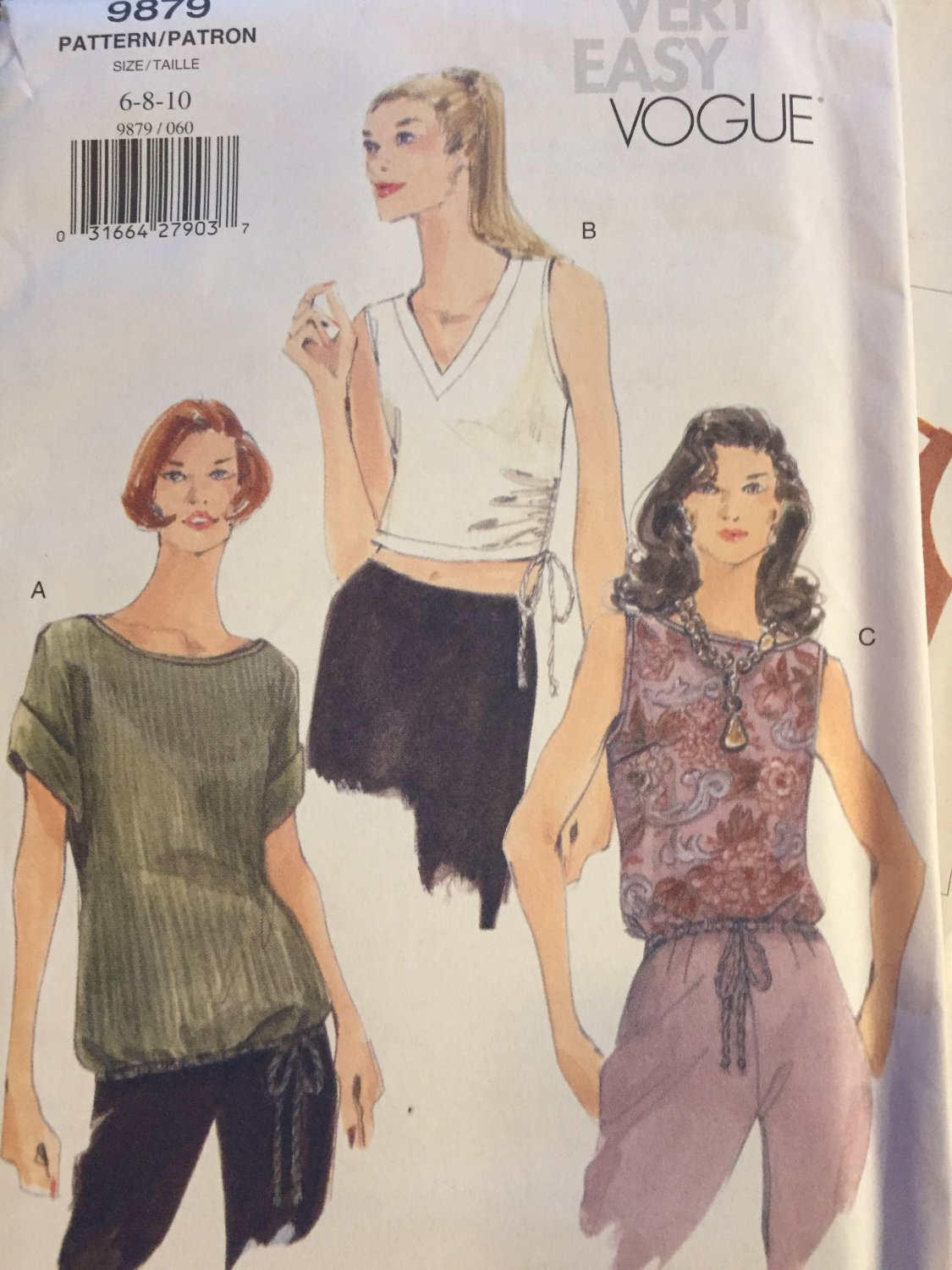 VOGUE 9879 Misses Top in 3 lengths, sleevless and with sleeves 6 8 10