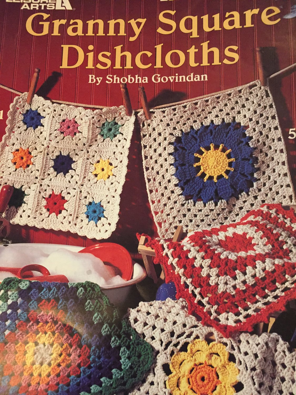 Granny Square Dishcloths, Leisure Arts, Pattern Leaflet #2601