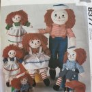 Raggedy Ann Andy Pattern Stuffed Rag DOLL McCalls 8377 Doll Clothes 10 to 25 Inches
