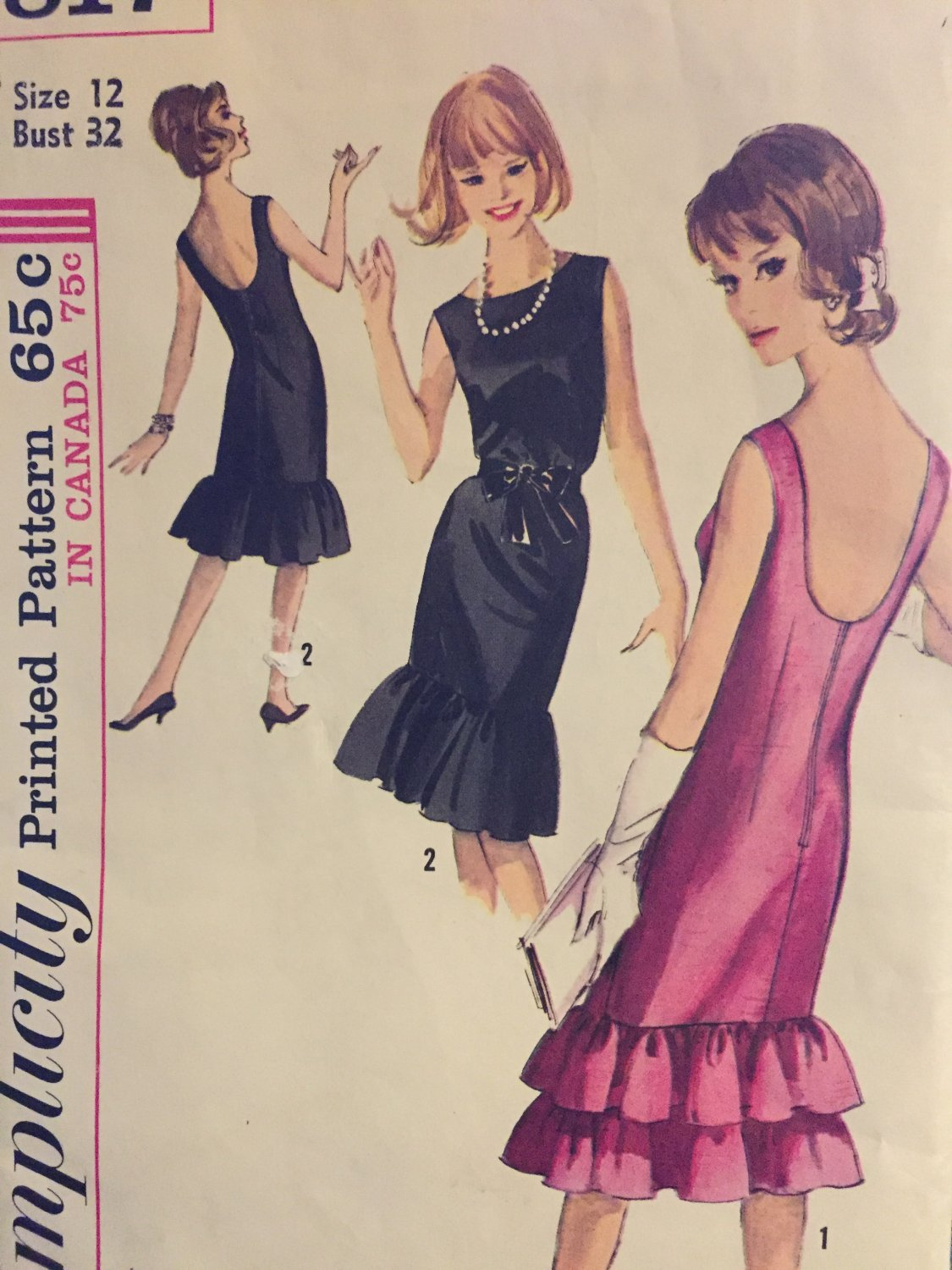 1960s Sleeveless Cocktail Dress Sewing Pattern Simplicity 5817 Bust 32