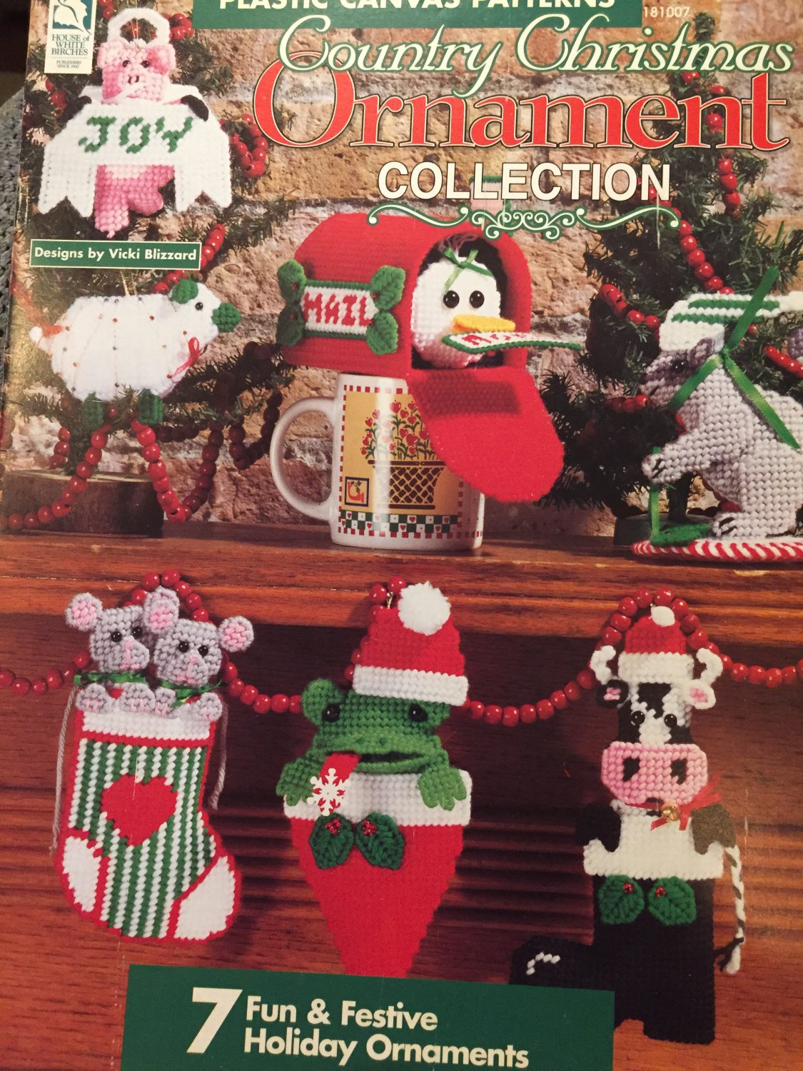 House of White Birches Country Christmas Ornament Collection Plastic Canvas pattern