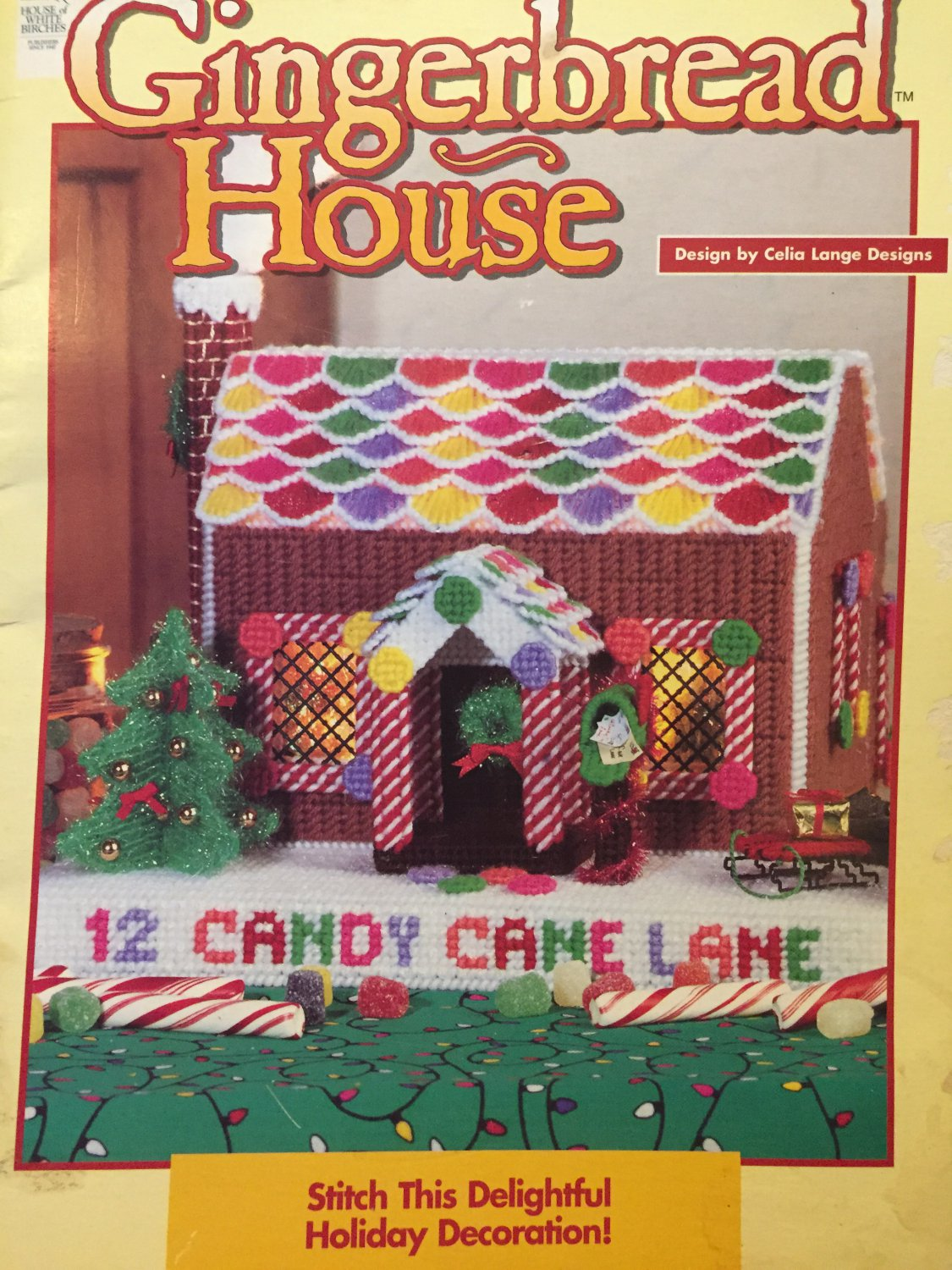 Gingerbread House Centerpiece Plastic Canvas Pattern House of White Birches 181012