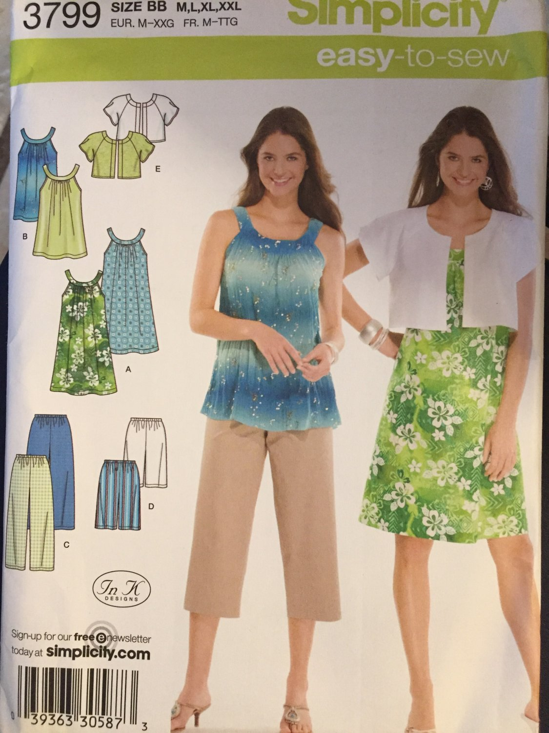 Misses' Dress or Tunic, Cropped Pants or City Shorts and Jacket Sewing Pattern Simplicity 3799