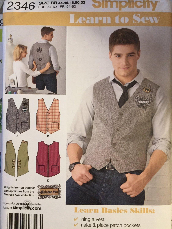 Men's Vests Sewing Pattern Simplicity 2346