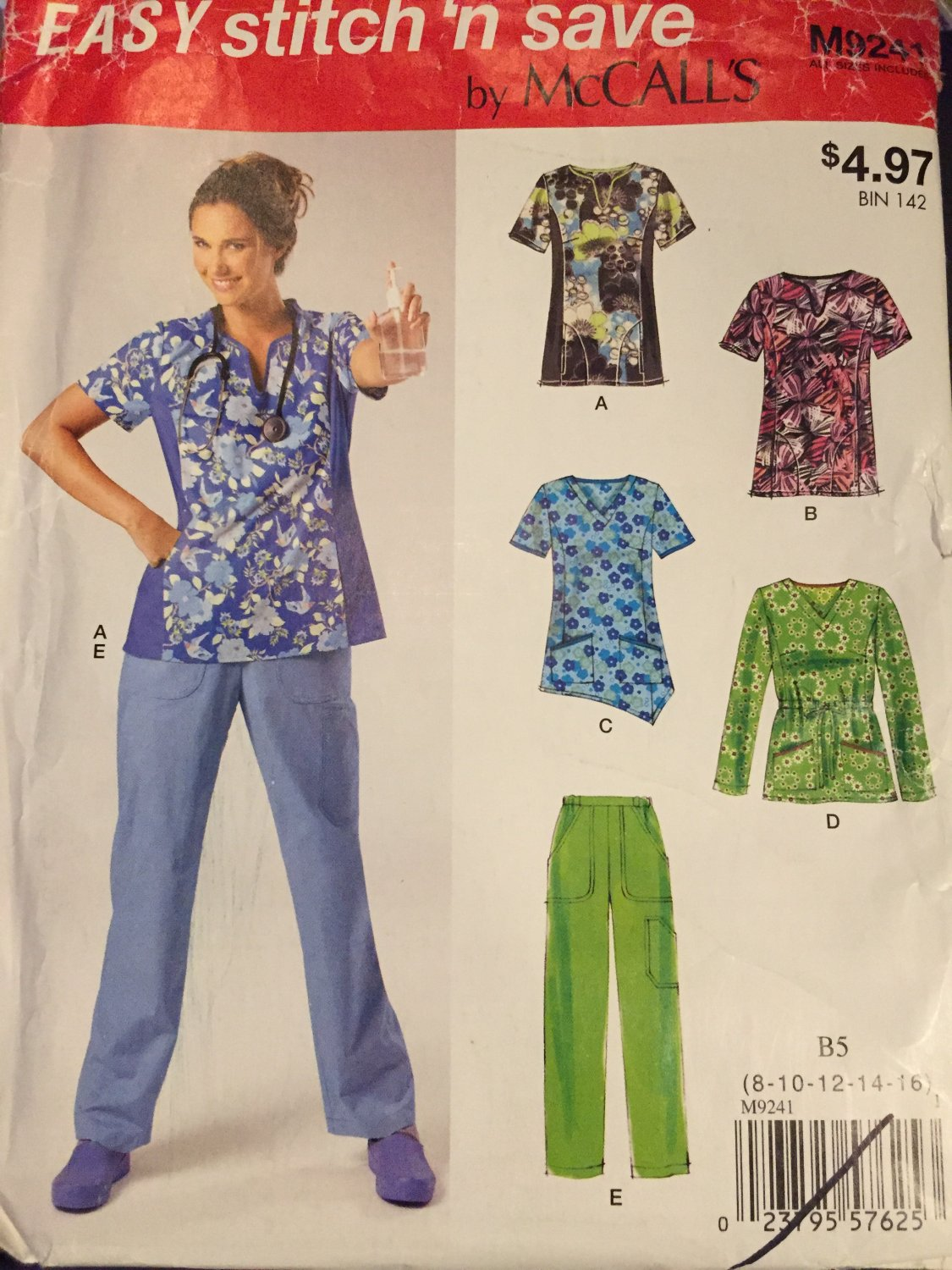 McCalls M9241 or M6473 Misses'/Women's Scrubs Tops and Pants Sewing Pattern