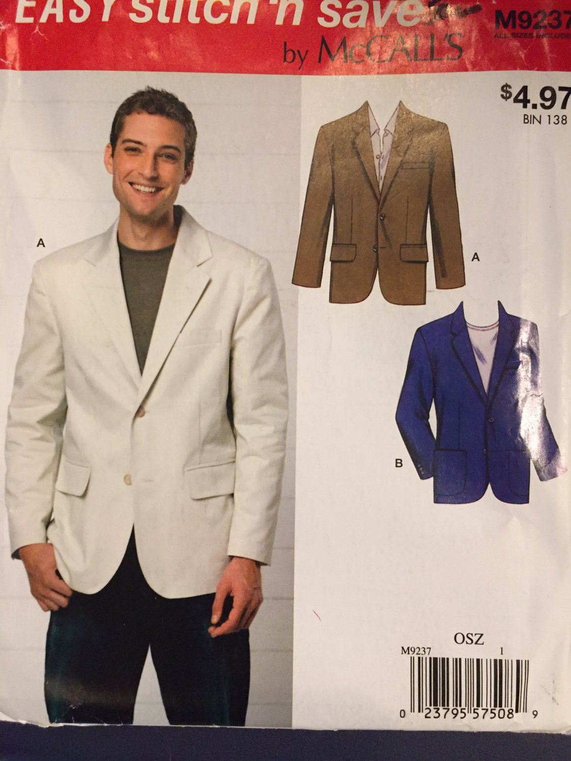 McCalls 7796 or Kwik Sew 3485 Mens Blazer Pattern Jacket Sewing Pattern Size SM - XXL Chest 34 - 52