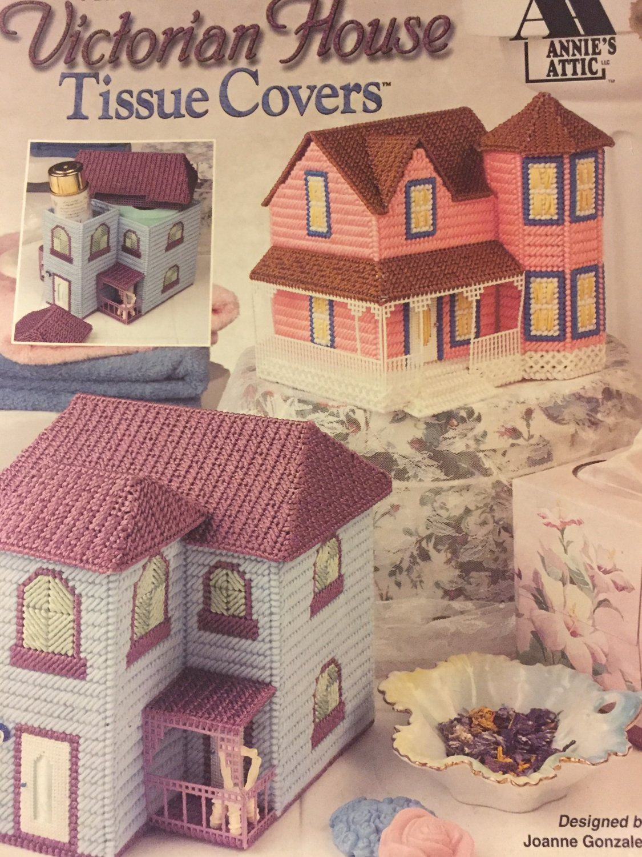 Annie's Attic 870831 VICTORIAN HOUSE TISSUE COVERS Plastic Canvas pattern