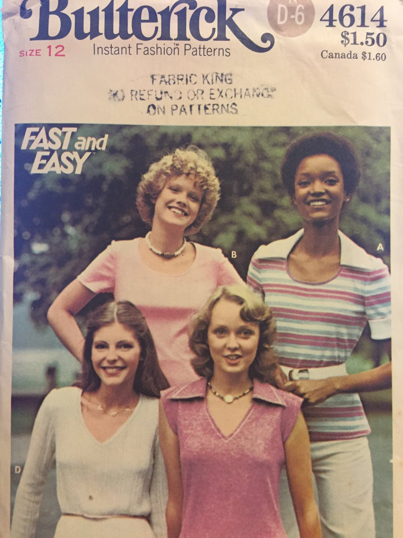 Vintage t-shirt sewing pattern BUTTERICK 4614 uncut size 12 bust 34