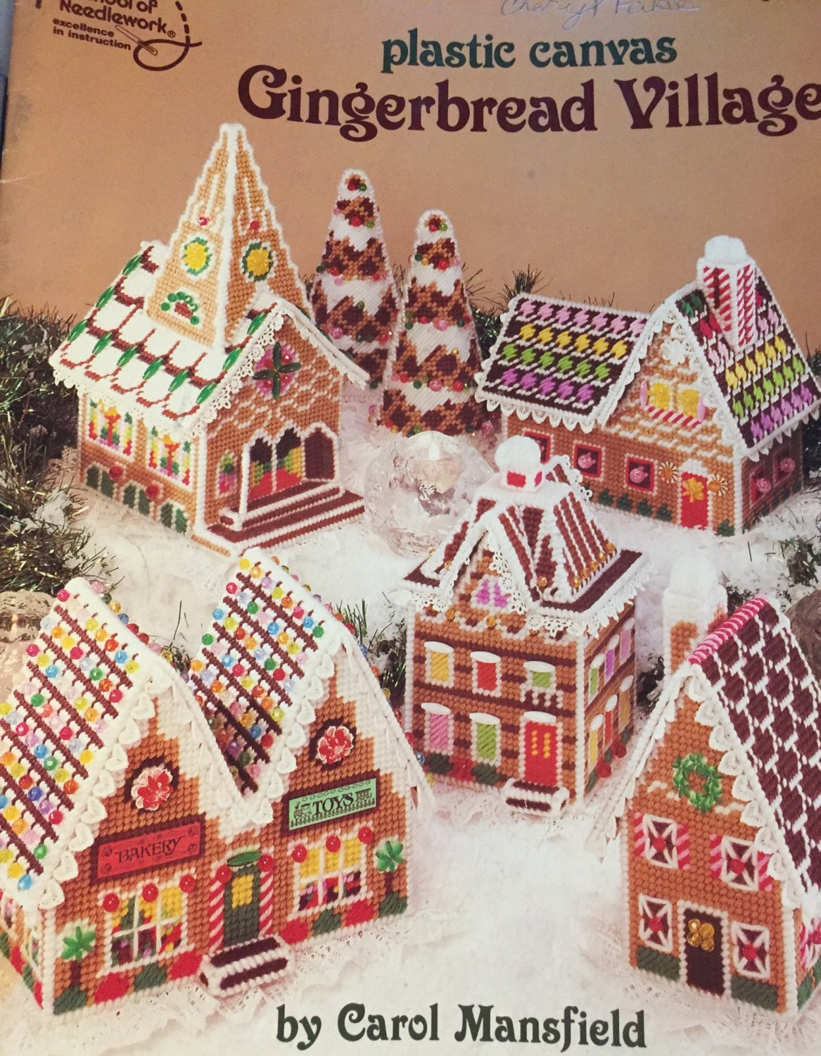 American School of Needlework 3039 Plastic Canvas  pattern Gingerbread Village