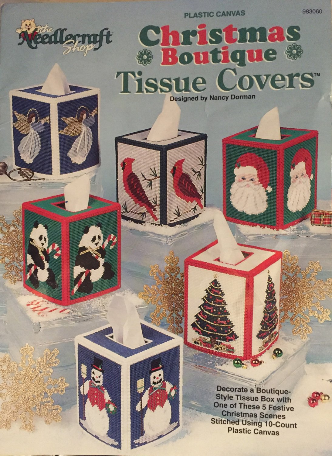 Christmas Boutique Tissue Cover Plastic Canvas pattern The Needlecraft Shop 983060