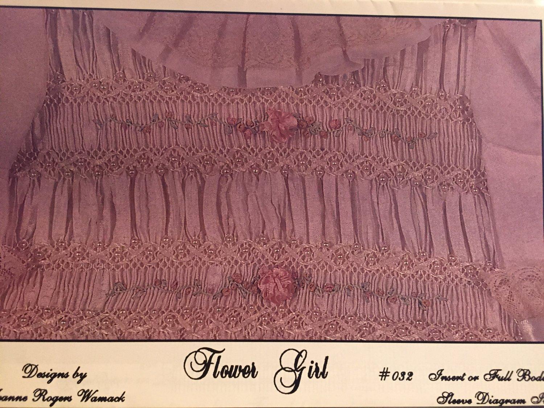 Flower Girl Smocking plate Jeanne Rogers Womack #032  Insert or full bodice