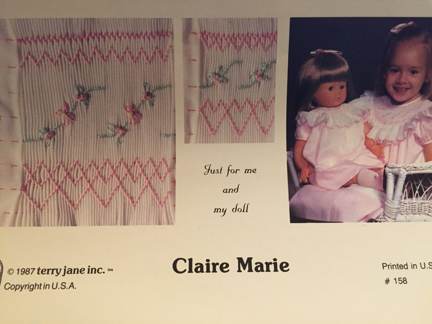 CLAIRE MARIE Smocking plate from Terry Jane Inc. Just for me and my doll.