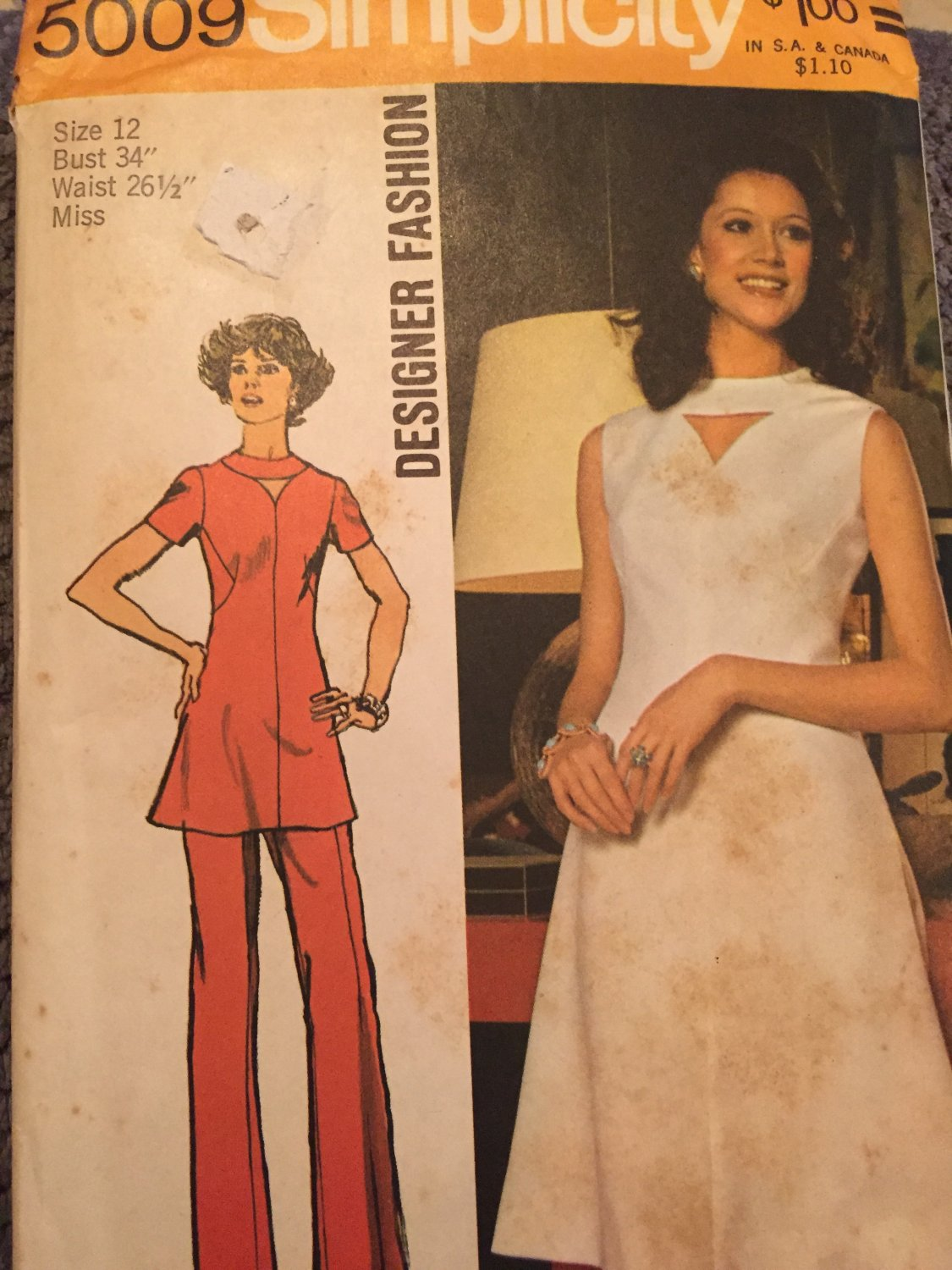 Vintage Simplicity Pattern 5009 Tunic Dress or Top and Pants Designer Fashion Pattern Size 12 UNCUT