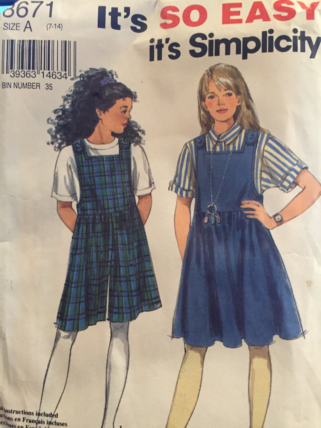 Simplicity 8671 Girls size 7-14 Jumper and Jumpsuit pattern UNCUT