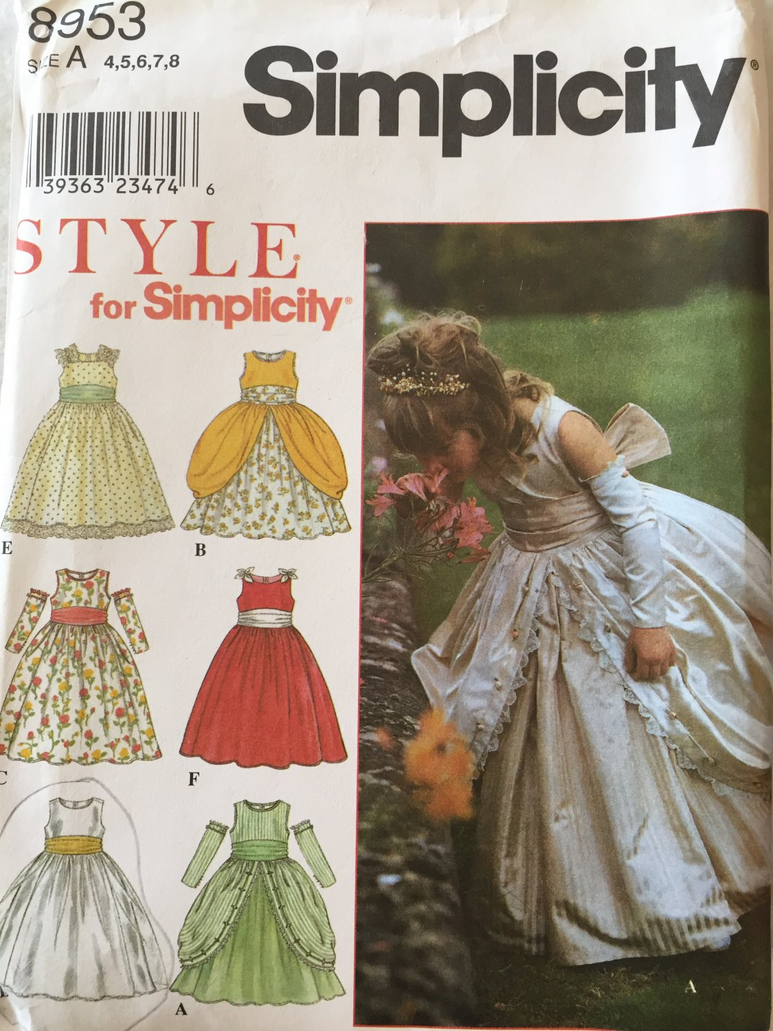 SOLD OUT! Simplicity 8953 Special Occasion Dress for girls Flower Girl  4 5 6 7 8 Uncut