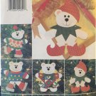 Butterick 4604 Christmas Bears Felt Ornaments No Sew Pattern - UNCUT