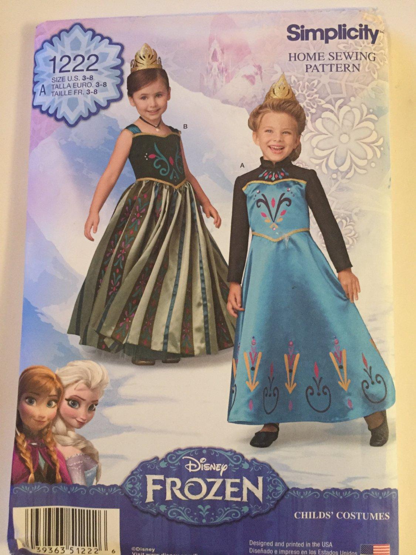 Simplicity 1222/0748 Child's Disney Frozen Princess Gowns, Sizes 3, 6, 7, 8, UNCUT