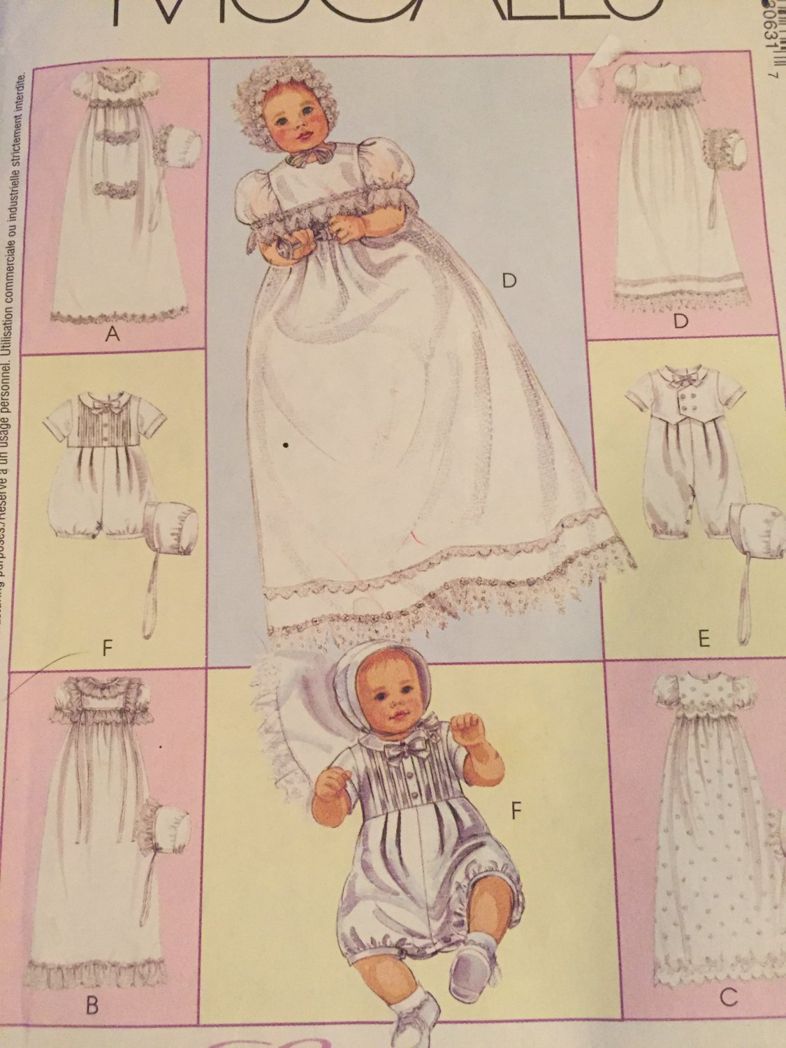 McCalls 3063 Express Yourself Baby Layette Sewing Pattern Christening Gown Rompers Bonnets Pattern