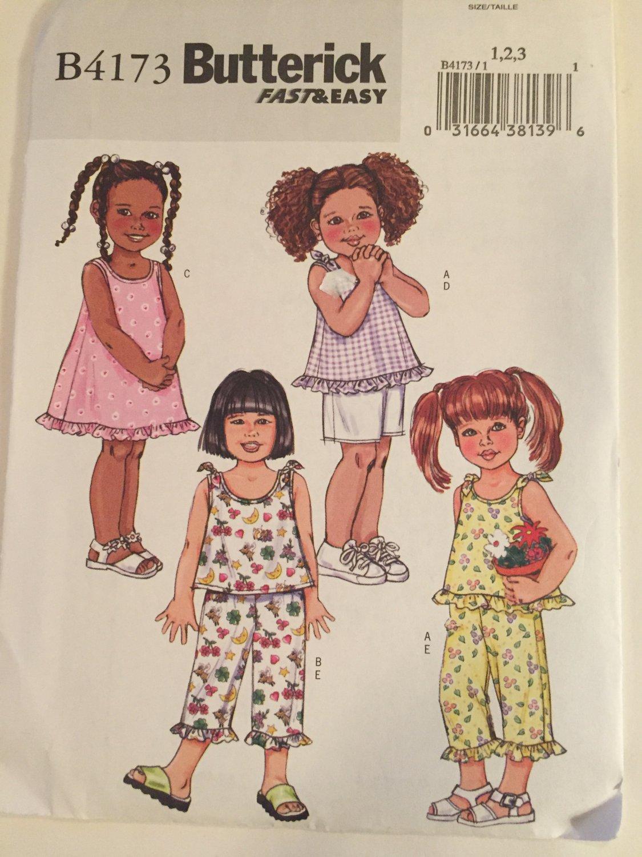 Butterick 4173, Fast & Easy, Toddler Dress, Top, Shorts, Capris, Pants, Ruffles, Girl, Children