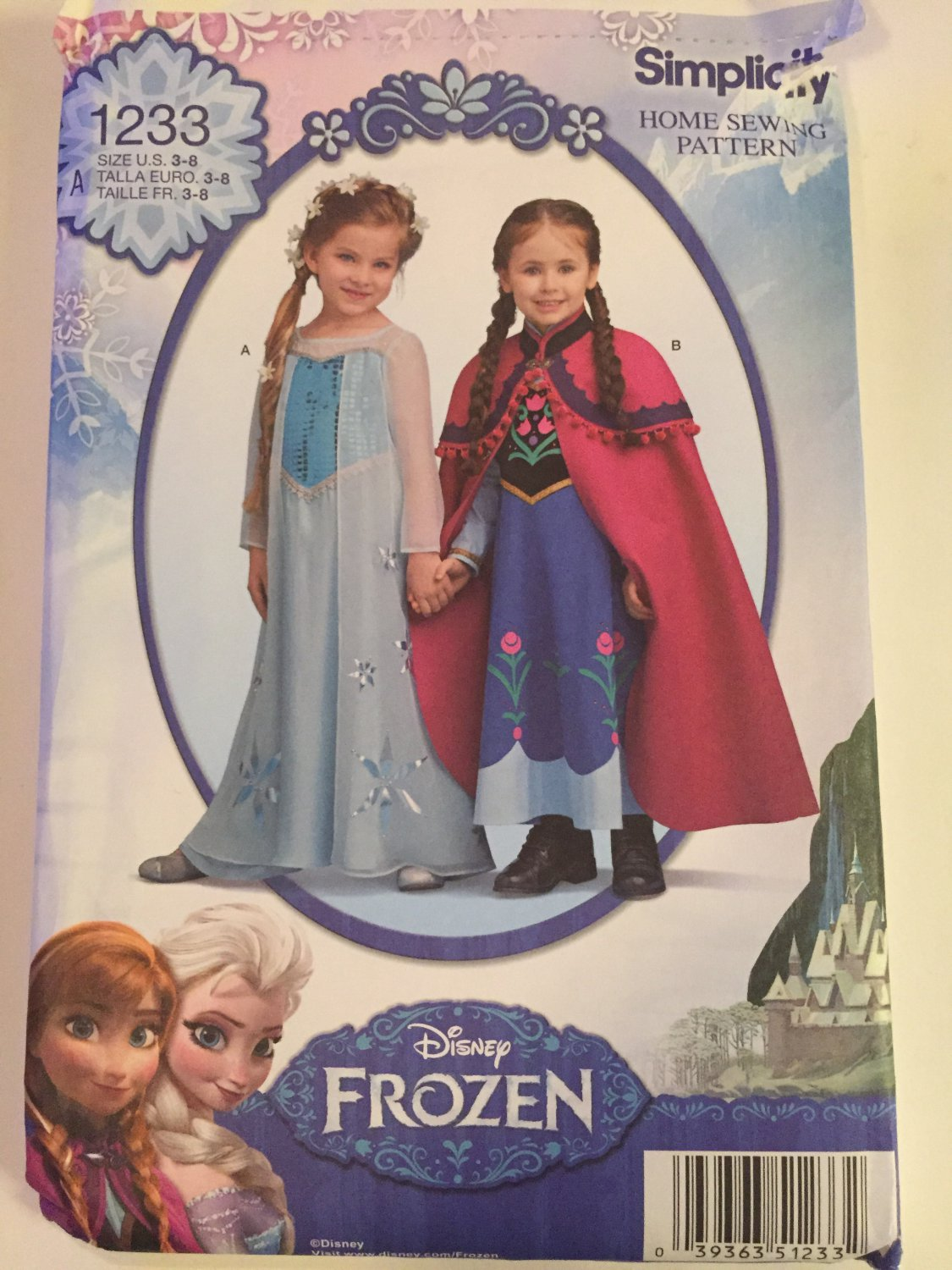 Simplicity 1333 Child's Disney Frozen Princess Gowns, Sizes 3, 6, 7, 8, UNCUT