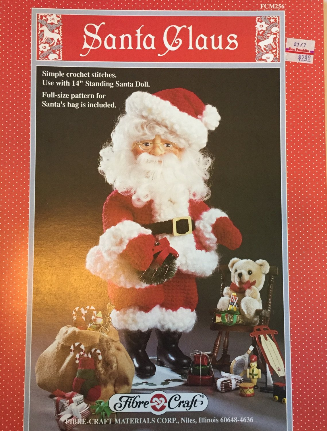 "Fibre Craft Outfit  14"" Santa Claus Doll Crochet Pattern FCM256"
