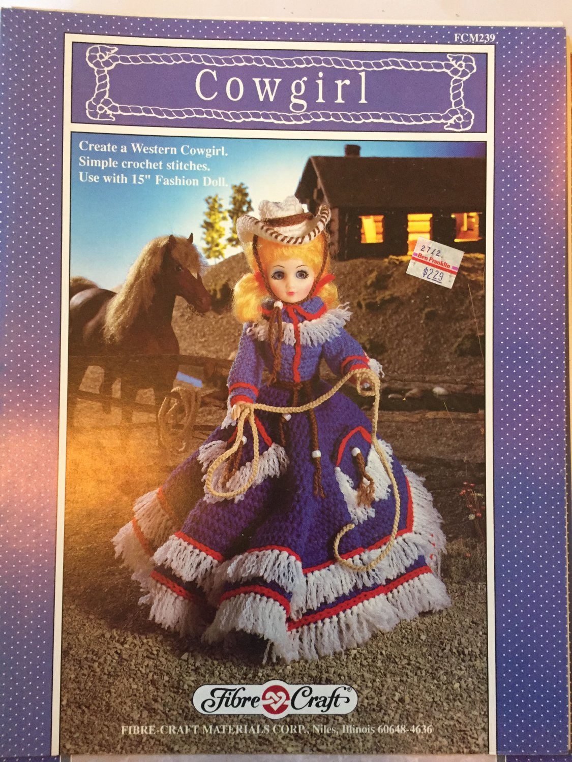 """Fibre Craft 15"""" Fashion Doll Cowgirl Outfit FCM239 Crochet Pattern"""