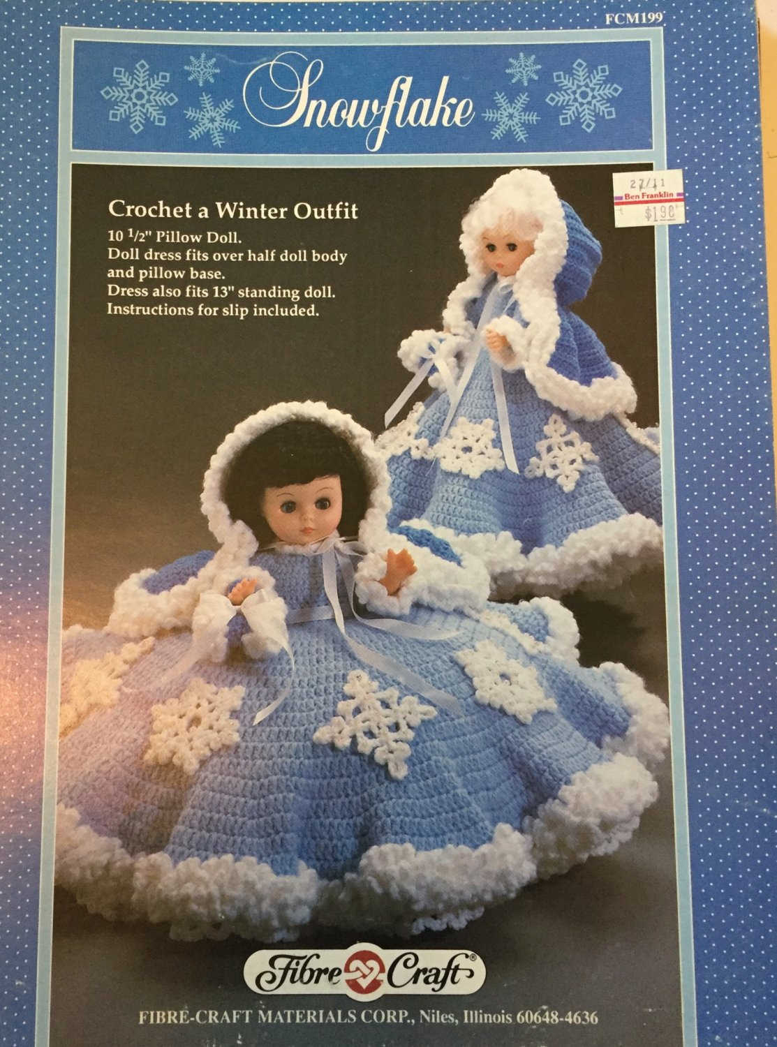 Snowflake Pillow Doll Bed Doll  Crochet Pattern  Fibre Craft FCM199