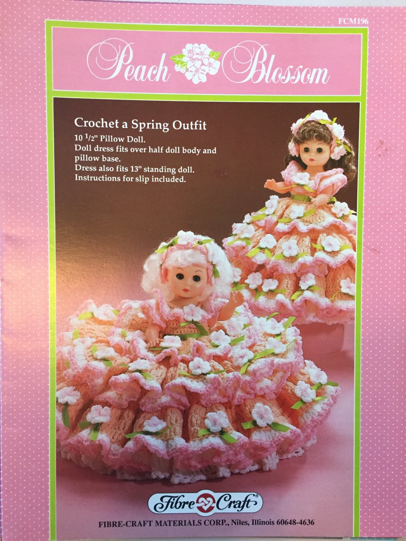 Peach Blossom Pillow Doll Bed Doll  Crochet Pattern  Fibre Craft FCM196