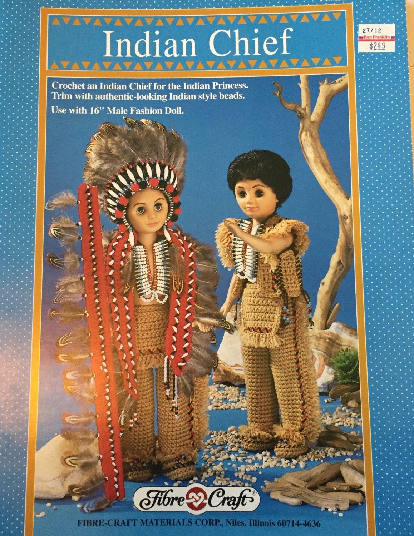 Fibre Craft Crochet Pattern Indian Chief doll clothes FCM329