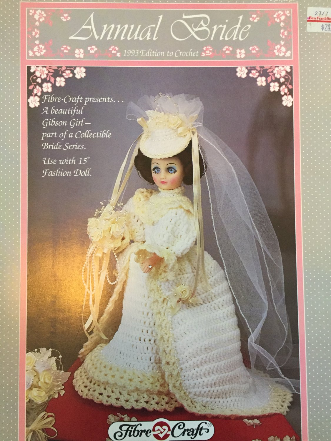"Fibre Craft 15"" Fashion Doll Bridal gown FCM323 Crochet Pattern"