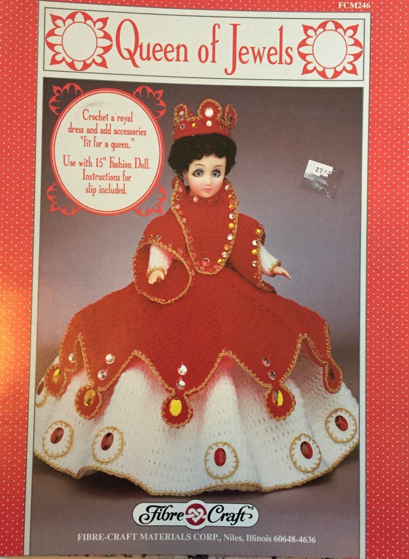 "Fibre Craft 15"" Doll Gown Queen of Jewels FCM 246 Crochet Pattern"