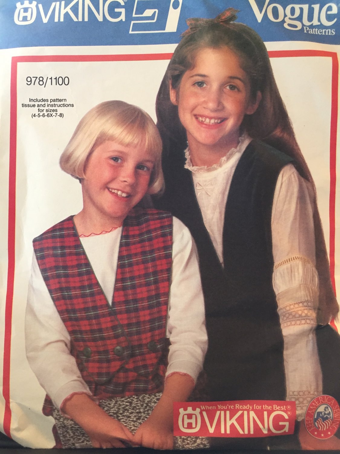 Vogue 978/1100 Girl's Split Skirt, Pants Detachable Bib & Top Sewing Pattern Size 4-5-6-6X-7-8 UNCUT