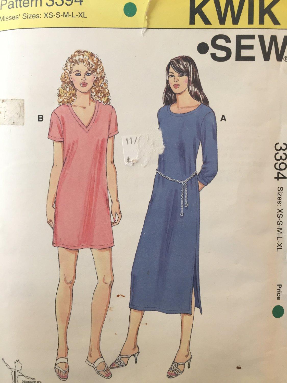 Kwik Sew 3394 T-Shirt Dress Sewing Pattern Misses Sizes XS, S, M, L, XL, By Kerstin Martensson