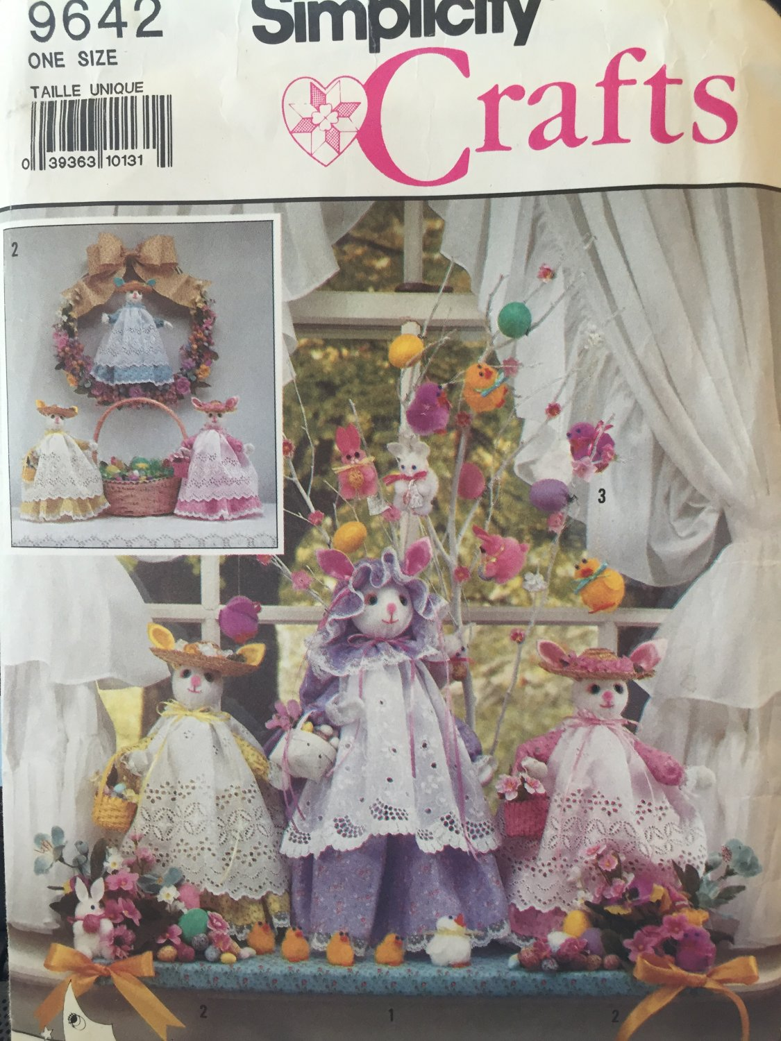 Simplicity Crafts Pattern 9642 Rabbits Bunnies & Clothes & Pom-Pom Ornaments