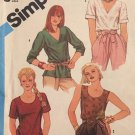 Simplicity 6435 Pullover Tops with Neckline and sleeve variations Sewing Pattern Size 14 Bust 36