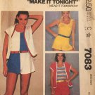 McCall's 7083 Women's Cover-up Top And Shorts, Uncut, Factory Folded, Sewing Pattern Size 10-12