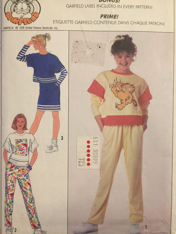 Simplicity 9257 T-shirt Top with Garfiield transfer Pullon Pants Pencil Skirt Med to XXL