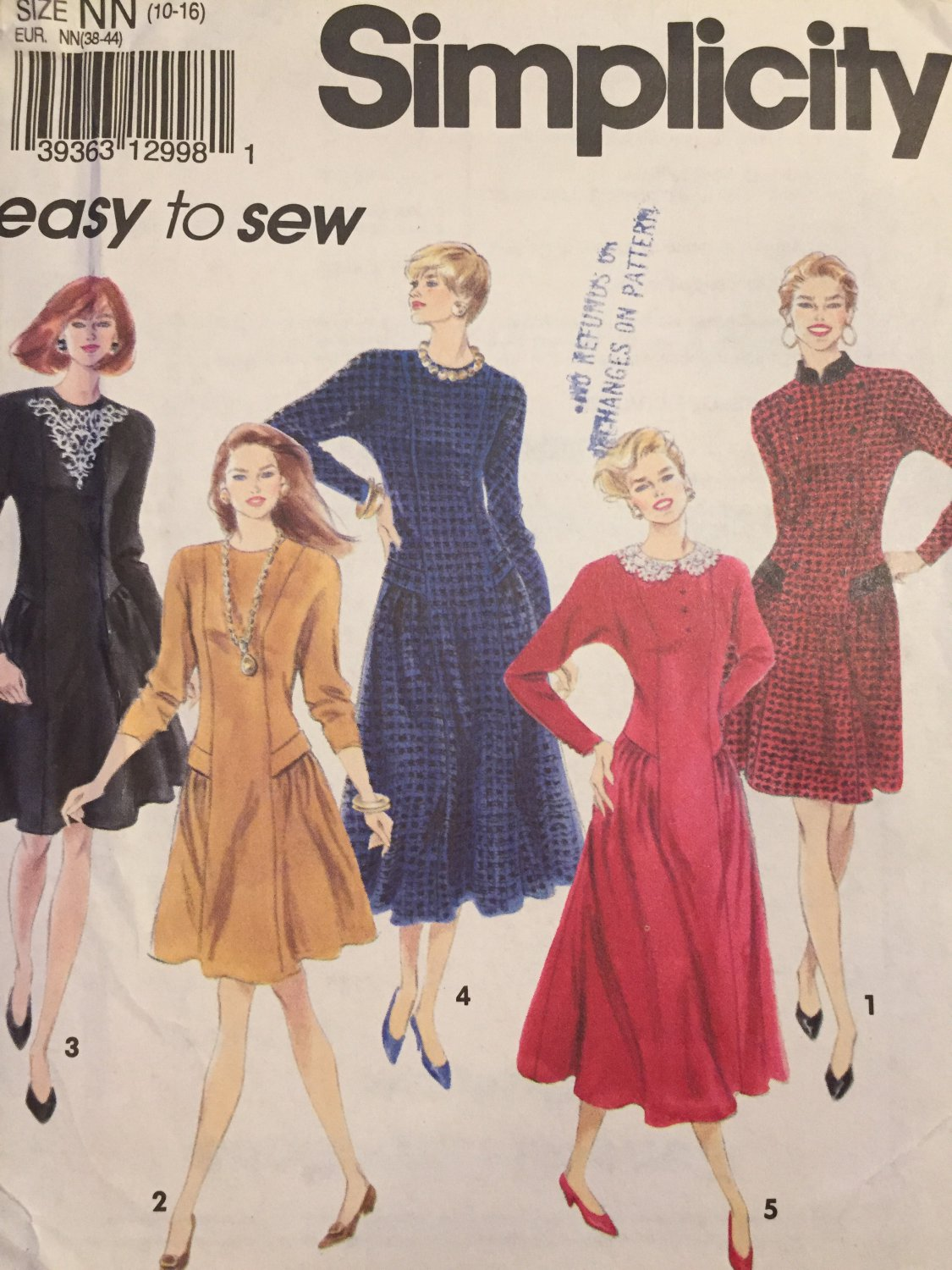 Simplicity sewing pattern 7998 UNCUT misses Princess Seam Flared dress in two lengths sizes 10 -16