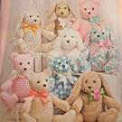 SIMPLICITY 8044 One Size Stuffed BUNNIES Teddy BEARS Two Pattern Piece Animals 14""