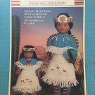 "World Friends Plains Indian Outfits 14"" mother & 8"" Child Doll Crochet Pattern Fibre Craft FCM327"