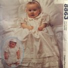McCall's 8863 Sewing Pattern Infant Baptism Christening Gown, Rompers, Hat Size Newborn to Large