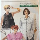 Very Easy Vogue 7221 Three versions of button front shirt blouse top sewing pattern Size 12 14 16