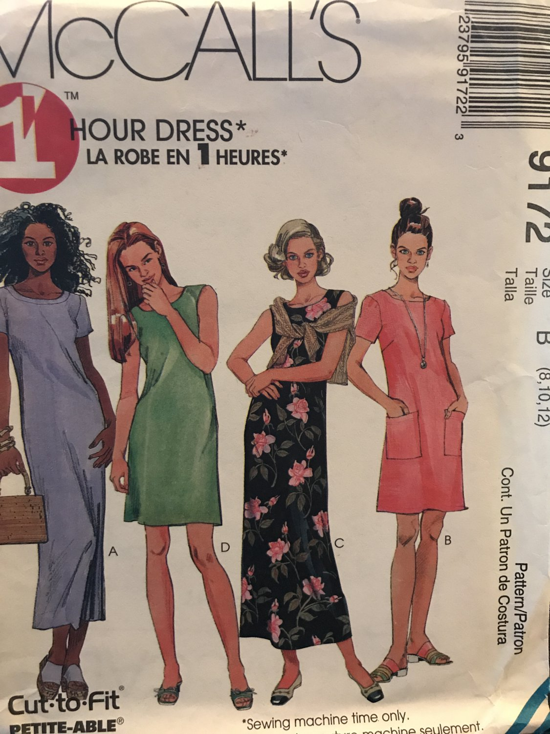 McCall's 9172 Misses dress in two lengths Relaxed fit, sleeveless or short sleeved Sizes 8 10 12