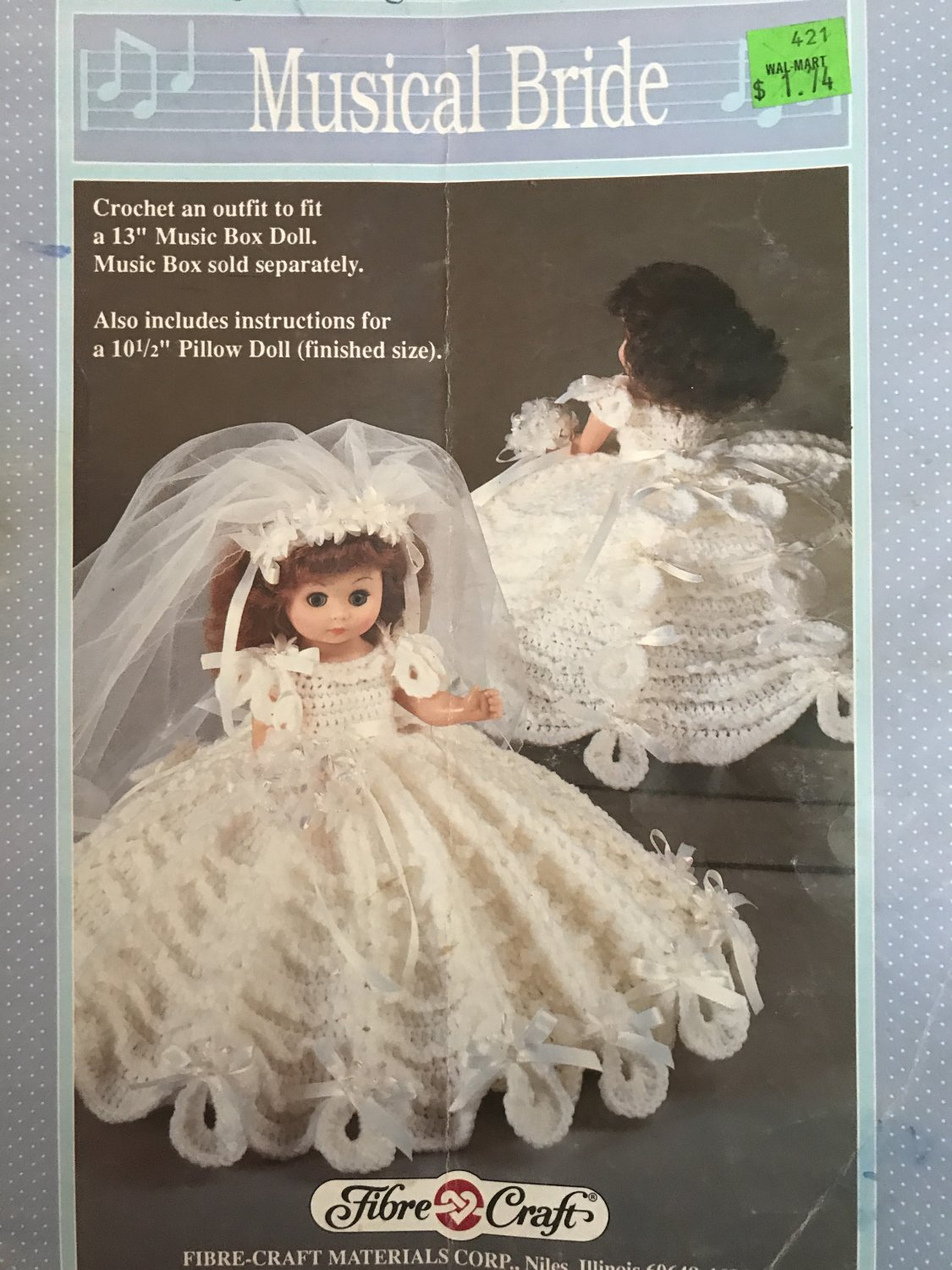 """Fibre Craft Musical Bride Crochet Pattern for 13"""" Music Box Doll and 10 1/2"""" Pillow doll FCM232"""