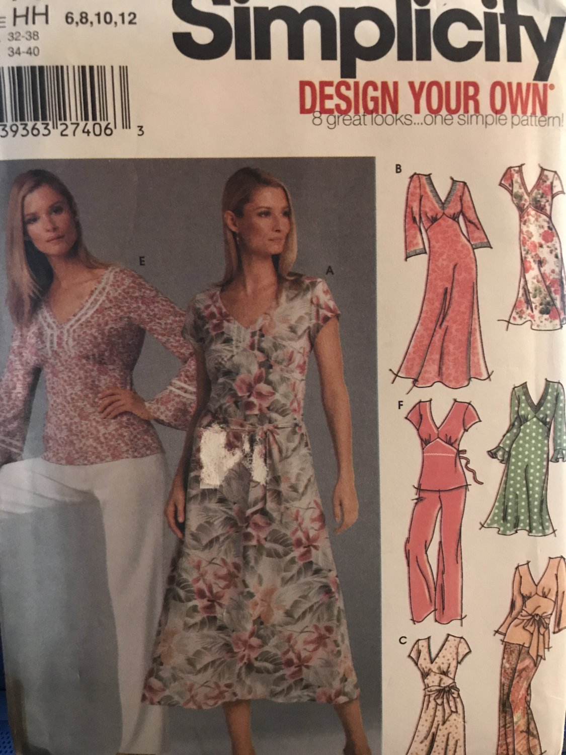 Simplicity 5193 Design Your Own Dress or Top with Long or Short Sleeves and Pants Size 6 =12