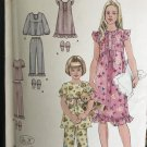 Simplicity 2831 Childs' Pajama Nightgown Slipper Sewing Pattern Size 7-14