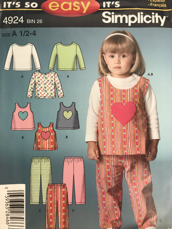 Simplicity 4924 Toddler Girls Heart Tank Shirt Pants Sewing Pattern Size 1/2 - 1 Easy