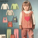 Simplicity 4924 Toddler Girls Heart Tank Shirt Pants Sewing Pattern Size 1/2 - 1 Easy