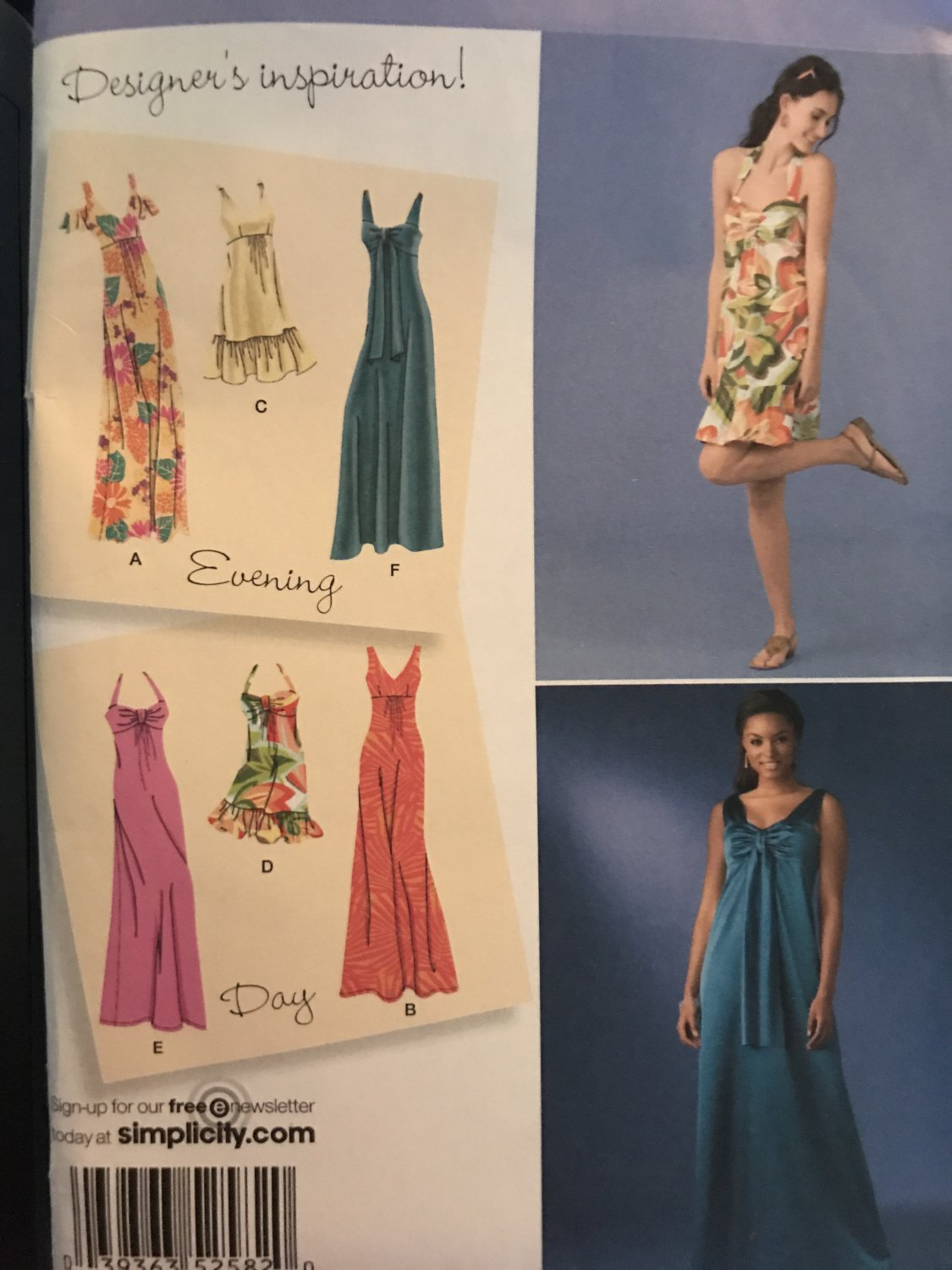 Simplicity 2582 Misses Evening & Day Summer Dress Sewing Pattern Size 6, 10, 12, 14