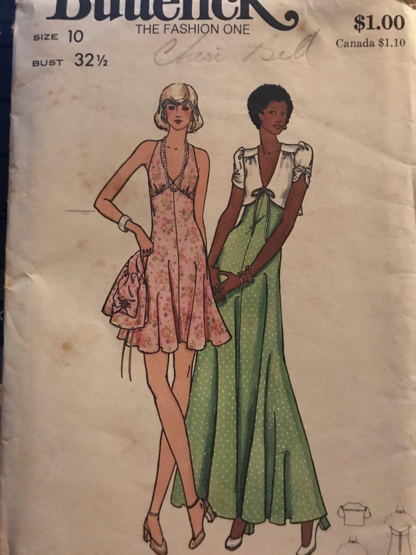 Butterick 3076 Misses' Evening Halter Dress Bolero Jacket Sewing Pattern Size 10 Bust 32.5